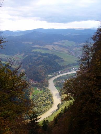 Widok z Trzech Koron na Przełom Dunajca - jesień