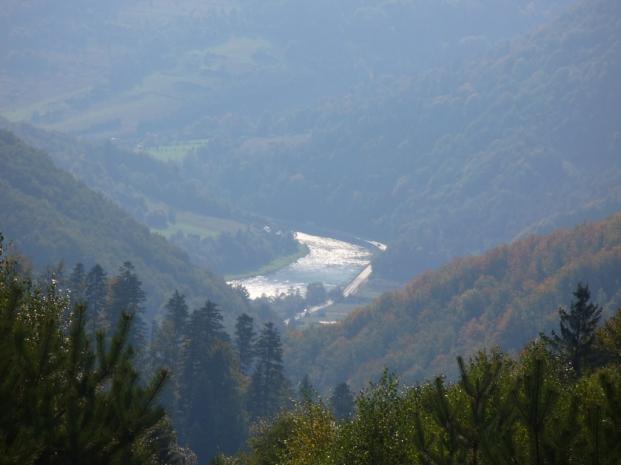 Widok na Dunajec ze szlaku Jaworzynka - Dzwonkówka, zdjęcie wykonano 30 IX 2008