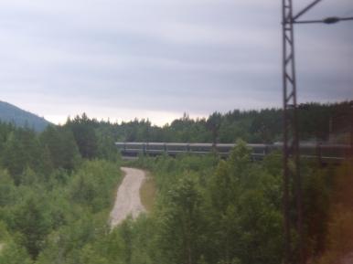 Nasz pociąg widziany z ostatniego wagonu