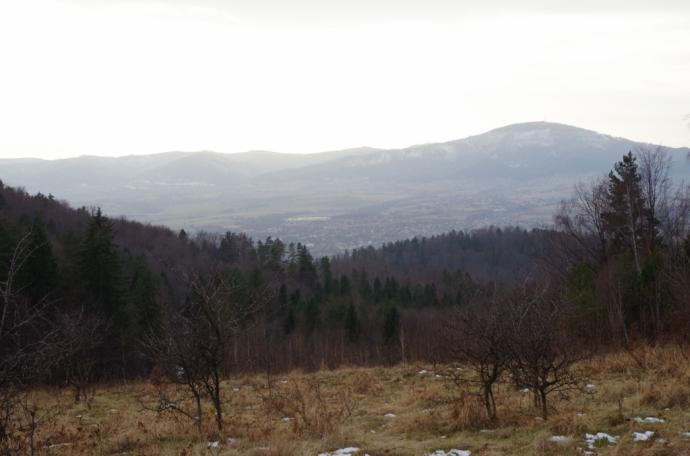 Widok na Skrzyczne z osiedla Klimczaki