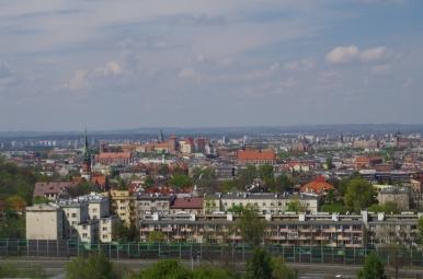Widok z Kopca Krakusa w kierunku Wawelu