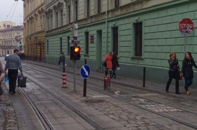 Zabezpieczenie przed wjazdem na rynek we Lwowie
