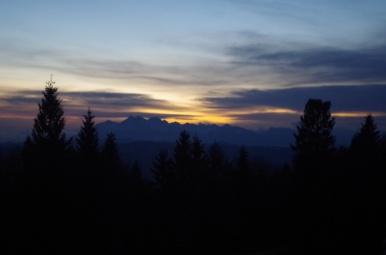 Zachód słońca nad Tatrami widziany spod Hali Łabowskiej