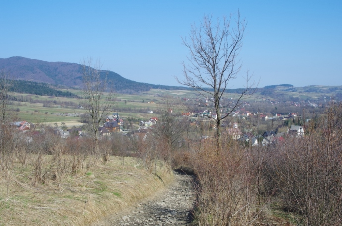 Widok na Jurków ze szlaku na Mogielicę
