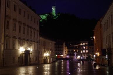 Novi trg, Ljubljana - widok na zamek