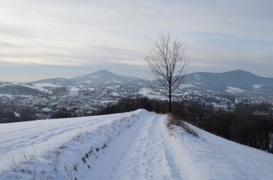 Widok na Luboń Wielki i Mszanę Dolną ze szlaku na Ćwilin