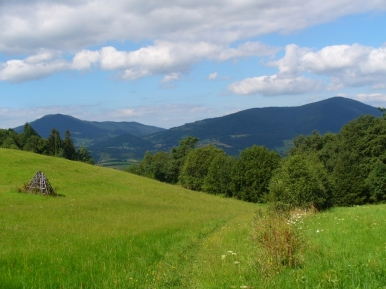 Luboń Wielki i Szczebel widziane ze szlaku na Ćwilin, zdjęcie wykonano 10 VIII 2008 r.