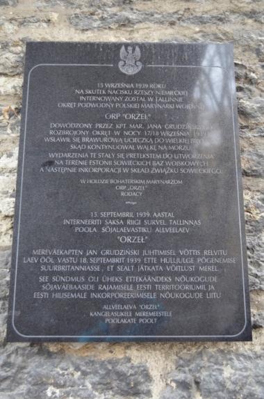 Tablica poświęcona pamięci okrętu ORP Orzeł, Tallin, fot. Maja Cybulska