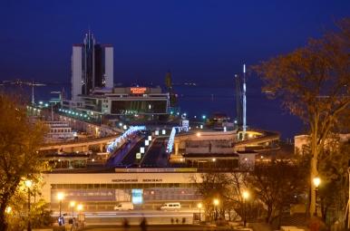 Widok na port w Odessie
